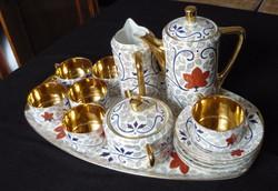 Antik 16 részes aranyozott Pirkenhammer porcelán teáskészlet