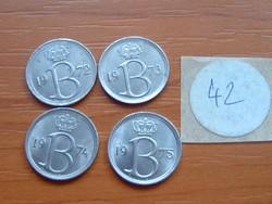 BELGIUM BELGIE 25 CENTIMES 1972,1973,1974,1975 4 DB 42.