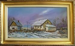 Tél a tanyán Jámbor L olaj-vászonkép (keret nélkül) 40-80 cm