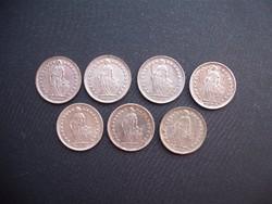 7 darab EZÜST svájci 1/2 frank LOT !!!