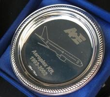 Aeroplex kft/Malév - ezüstözött tálka (repülős) - emléktárgy