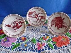 Zemplén vadállatai 3 db Hollóházi porcelán tálka különböző