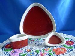 3 részes Hollóházi porcelán dohányzó készlet régi pecsétes