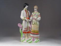 0M864 Népviseletes orosz kétalakos porcelán figura