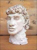 Görög büszt agyag szobor , jól kidolgozott nagy méret