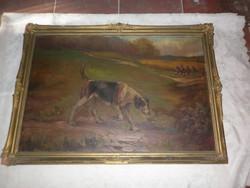 Antik festmény vadászkutyával