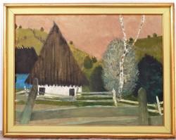 Újváry Lajos (1925-2006) Gyimes olajfestménye képcsarnokos