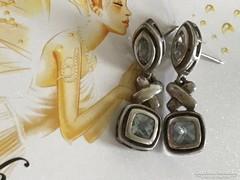 Valódi kék akvamarin ezüst fülbevaló