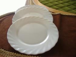 Fehér süteményes arcopal tányérok, hőálló, tejüveg,