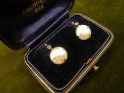 Gyöngyös-gyémántos antik fülbevaló
