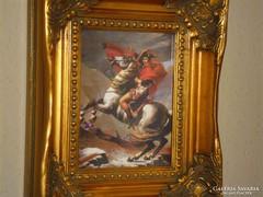 NAPOLEON LOVON: Jacques-Louis David FESTMÉNY PORCELÁN KÉP, GYÖNYÖRŰ BAROKK ARANY KERET,LUXUS AJÁNDÉK