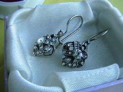 Antik ezüst fülbevaló strasszokkal