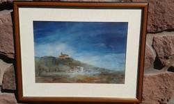 Hankó Béla: Balaton, Tihany a másik oldalról, akvarell, tájkép, festmény