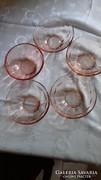 Rózsaszín  kis üvegtálkák