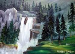 50 x 70 -Olajfestmény,-Vízesés-kerettel