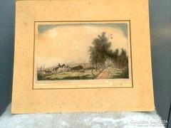 Rudnay Gyula színezett rézkarc