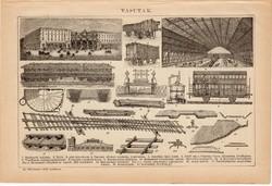 Vasutak és bányászat, egyszín nyomat 1892, eredeti, vasút, indóház, szénbánya