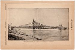 Vashídak II., Ferencz József híd, egy színű nyomat 1896, híd, Duna, eredeti, régi