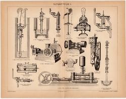 Szivattyúk I., Pallas nyomat 1896, eredeti, antik, régi, szivattyú, emelő
