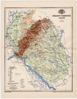 Pozsony vármegye térkép 1897, antik, eredeti, régi, megye, Magyarország