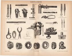 Szerszámok, egy színű nyomat 1898, eredeti, antik, régi, szerszám, satu, fúró maró