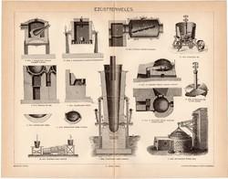Ezüsttermelés, egy színű nyomat 1894, eredeti, antik, régi, ezüst, termelés, kemence