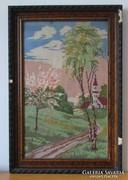 Nagy, régi hímzett falikép (goblein, gobelin) keretben