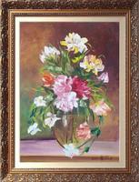 Rózsák-Nagyméretű kortárs remekmű---csendélet festmény