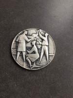 Régi Vincze Pál ezüstözött plakett