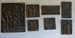 Somogyi József 7 db bronz plakett egyben alkalmi áron