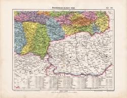 Délkelet - Magyarország térkép 1906, magyar atlasz térképe, eredeti, Homolka József, antik, régi