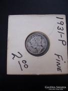 USA One Dime 1931  Silver, Fine!