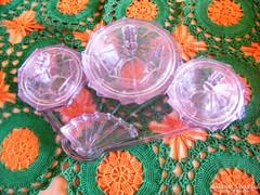 Antik, többrészes kínáló üvegből -szürkéskék-