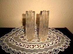 2 db antik csiszolt  üveg váza együtt