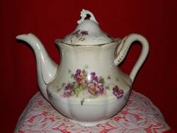 Antik gyönyörű szecessziós porcelán teás kanna kiöntő ibolya virág mintával 21 X 25 X 18 cm