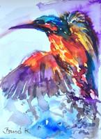 Vadász a víz felett,nívós akvarell a nemzetközileg is elismert művésztől!