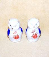 Porcelán bagoly só- és borszóró figura