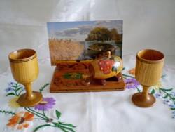 Retro balatoni festett fa fényképtartó 2 ajándék kupával