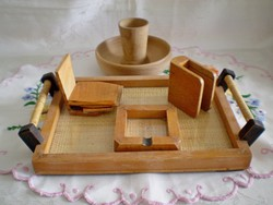 Retro tálcás fa dohányzó készlet,  ajándék tálka és fogpiszkáló tartó