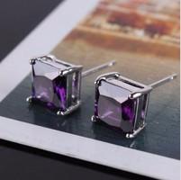 Lila zafír kristály 18K fehér arany kitöltött női fülbevaló pár, új.