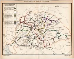 Magyarország vasúti térkép 1896, régi, antik, eredeti, vasút, államvasutak, hálózat