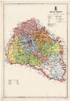 Baranya vármegye térkép 1934, csonka Magyarország, megye, 1930-as évek, régi, atlasz, eredeti