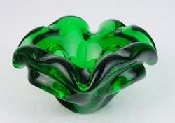 0M689 Régi vastagfalú művészi zöld üveg hamutál