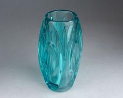 0M690 Régi művészi formatervezett üveg váza 15 cm