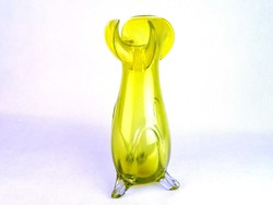 0M759 Régi sárga művészi fújt üveg váza 30 cm
