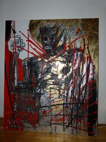 Menyhárt Tamás Menyus kortárs festő óriás képe vászon 120×100