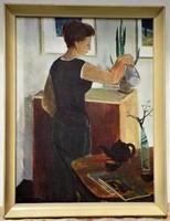 Id. Keleti Jenő (1920-1998) Enteriőr 97x67cm képcsarnokos olajfestménye EREDETI GARANCIÁVAL