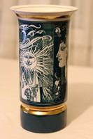 Szász Endre zöld-fehér arany váza - Hollóházi porcelán - 26 cm