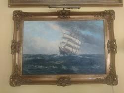 Vitorlást  ábrázoló olaj-vászon festmény eladó