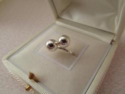 Bogyós ezüst gyűrű - gömb - retro 19,3 mm